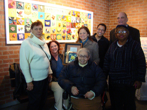Council Person Melissa Mark-Viverito with artist Jennifer Wade and senior participants Essie, Maria and Barabara. Center Director Floyd Cohen and Creative Arts Manager Juan Santiago