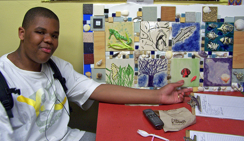 Ismael with sea-life tile