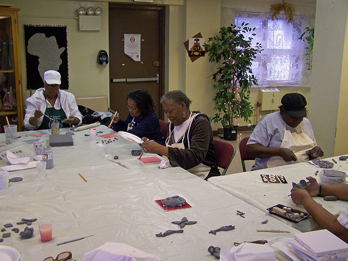 Langston Hughes Senior Center sculpting session